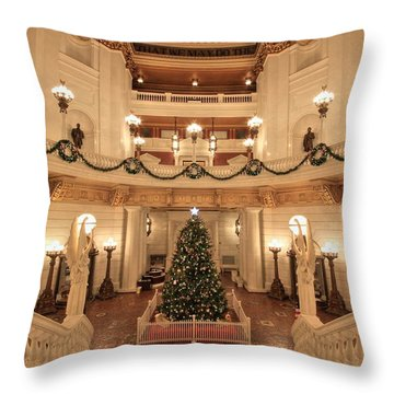 Christmas In The Rotunda Throw Pillow