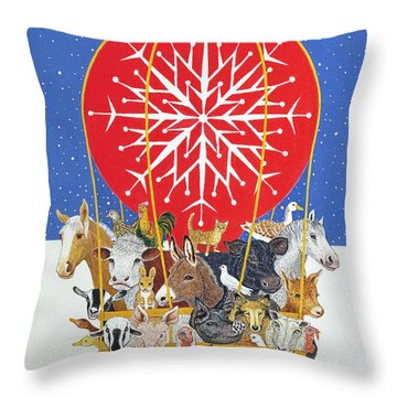 Christmas Journey Oil On Canvas Throw Pillow