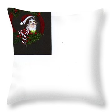 Christmas Kitten Throw Pillow by Catherine Swerediuk