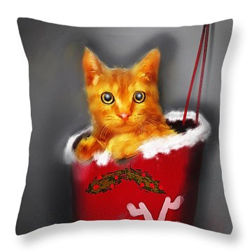 Christmas Kitten Throw Pillow by Ken Morris