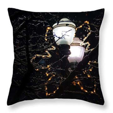 Christmas Light Post - Grants Pass Throw Pillow by Mick Anderson