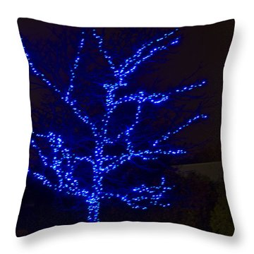 Christmas Light Series No 2  Blue  Throw Pillow