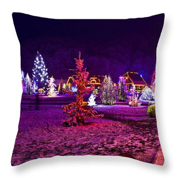 Christmas Lights In Town Park - Fantasy Colors Throw Pillow by Brch Photography