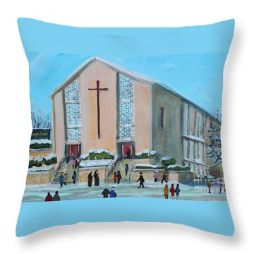 Throw Pillow featuring the painting Christmas Mass At Saint Joseph's Church by Rita Brown