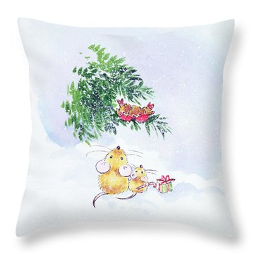 Christmas Mice And Robins Throw Pillow by Diane Matthes