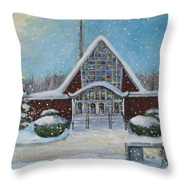 Throw Pillow featuring the painting Christmas Morning At Our Lady's Church by Rita Brown