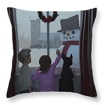 Christmas Morning Greeting Throw Pillow by Ken Morris