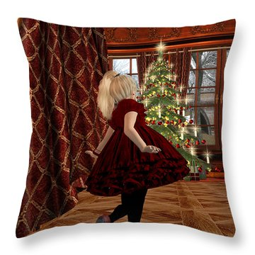 Christmas Morning Throw Pillow by Kylie Sabra
