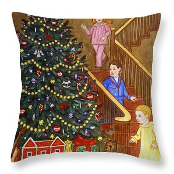 Christmas Morning Throw Pillow by Linda Mears
