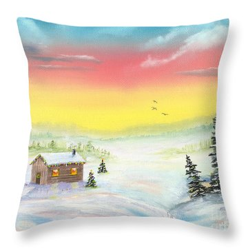 Throw Pillow featuring the painting Christmas Morning by Mary Scott