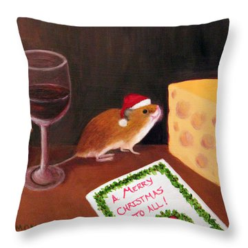 Christmas Mouse Throw Pillow