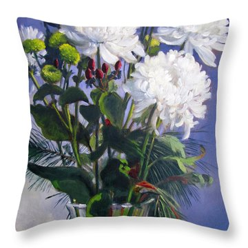 Christmas Mums 2 Throw Pillow