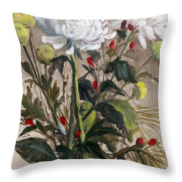 Christmas Mums Throw Pillow