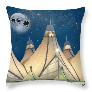 Christmas Night At Denver International Airport Throw Pillow