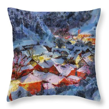 Christmas Night Throw Pillow by Georgi Dimitrov