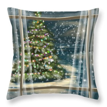 Christmas Night Throw Pillow by Veronica Minozzi