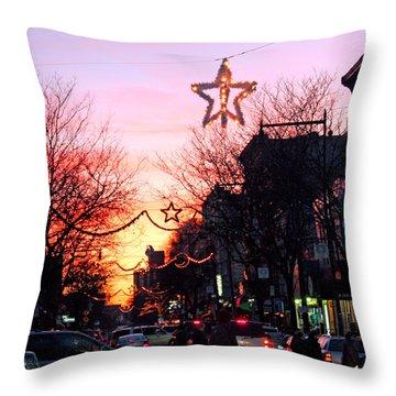 Throw Pillow featuring the photograph Christmas On Arthur Avenue by Aurelio Zucco