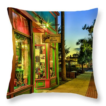 Sunset Christmas Store Throw Pillow