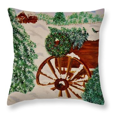 Christmas On The Farm Throw Pillow by Celeste Manning