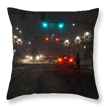 Christmas On The Streets Of Grants Pass Throw Pillow by Mick Anderson