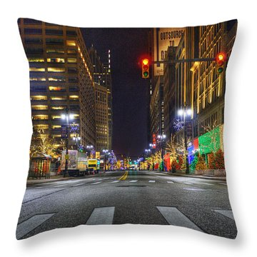 Christmas On Woodward Throw Pillow