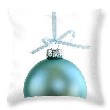 Christmas Ornament On White Throw Pillow by Elena Elisseeva