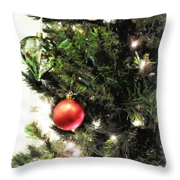 Christmas Ornaments Throw Pillow by Joan  Minchak