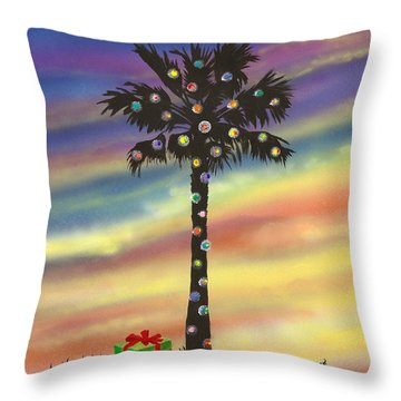 Throw Pillow featuring the painting San Clemente Christmas by Mary Scott