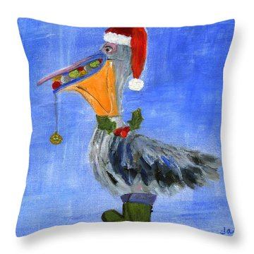 Christmas Pelican Throw Pillow by Jamie Frier