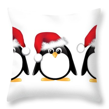 Christmas Penguins Isolated Throw Pillow by Jane Rix
