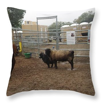Christmas Petting Farm Throw Pillow