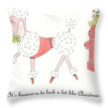 Christmas Poodle Throw Pillow