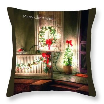 Christmas Porch Throw Pillow