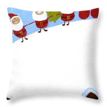 Christmas Pudding And Santas Throw Pillow