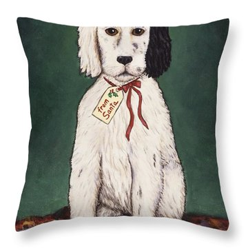 Christmas Puppy Throw Pillow by Linda Mears