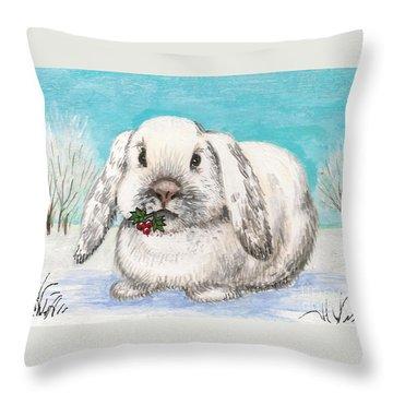 Christmas Rabbit Throw Pillow by Margaryta Yermolayeva