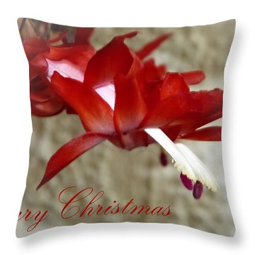 Christmas Red Beauty Card Throw Pillow