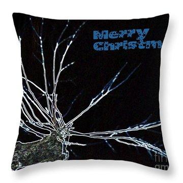 Christmas Reindeer Greeting Throw Pillow by Ausra Huntington nee Paulauskaite