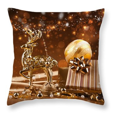 Christmas Reindeer In Gold Throw Pillow