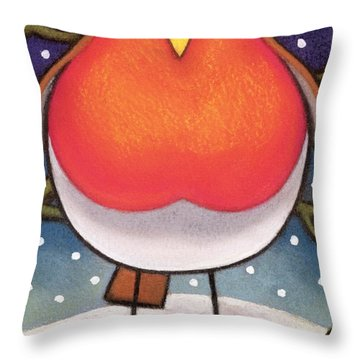 Christmas Robin Throw Pillow by Cathy Baxter