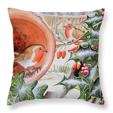 Christmas Robins Throw Pillow by Tony Todd