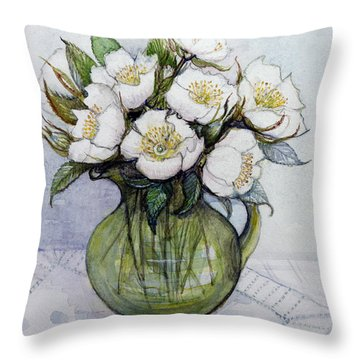 Christmas Roses Throw Pillow by Gillian Lawson