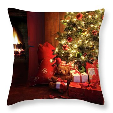 Christmas Scene With Tree And Fire In Background Throw Pillow by Sandra Cunningham