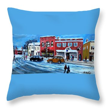 Throw Pillow featuring the painting Christmas Shopping In Concord Center by Rita Brown