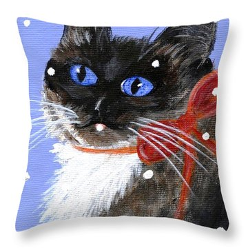 Throw Pillow featuring the painting Christmas Siamese by Jamie Frier