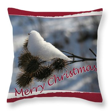 Christmas Snow Bird Throw Pillow
