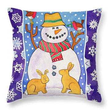 Christmas Snowflakes Throw Pillow by Cathy Baxter