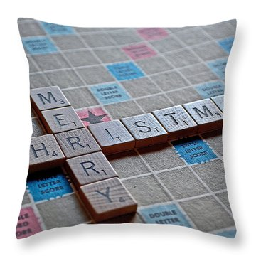 Christmas Spelled Out Throw Pillow