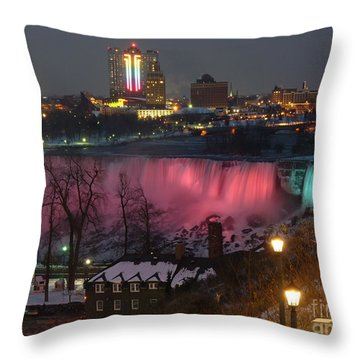 Christmas Spirit At Niagara Falls Throw Pillow