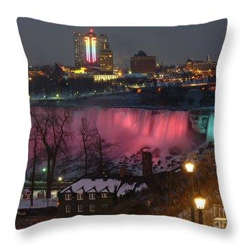 Christmas Spirit At Niagara Falls Throw Pillow by Lingfai Leung